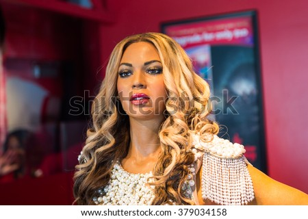 SAN FRANCISCO, USA - OCT 5, 2015: Beyonce Knowles in the Madame Tussauds museum in SF. It was open on June 26, 2014 - stock photo