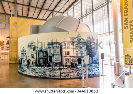 SAN FRANCISCO, USA - OCT 5, 2015: Exhibits on climate change in the California Academy of Sciences, a natural history museum in San Francisco, California. It was established in 1853
