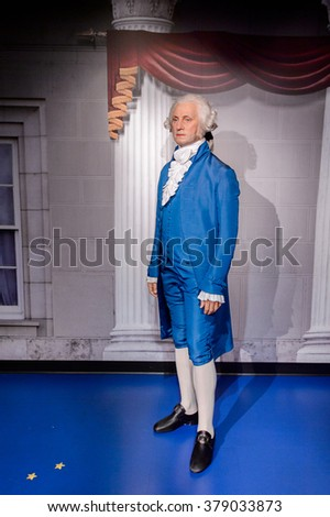 SAN FRANCISCO, USA - OCT 5, 2015: George Washington at the  Madame Tussauds museum in SF. It was open on June 26, 2014
