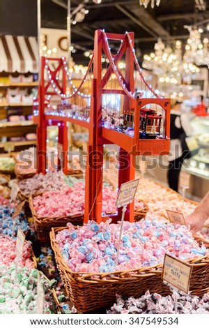SAN FRANCISCO, USA - OCT 5, 2015:  Golden Gate bridge at Ghirardelli chocolate  souvenir shop in Fisherman wharf.Ghirardelli Chocolate Company is a US division of Swiss confectioner Lindt and Sprungli
