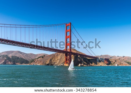 SAN FRANCISCO, USA - OCT 4, 2015: Golden Gate Bridge, 4.8 km long suspension bridge   between San Francisco Bay and the Pacific Ocean, San Francisco, USA