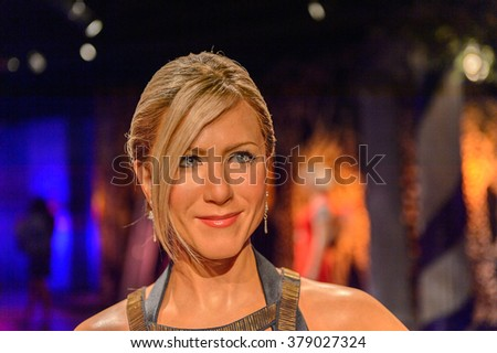 SAN FRANCISCO, USA - OCT 5, 2015: Jennifer Aniston at the Madame Tussauds museum in SF. It was open on June 26, 2014 - stock photo