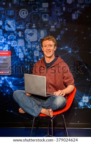 SAN FRANCISCO, USA - OCT 5, 2015: Mark Zuckerberg at the Madame Tussauds museum in SF. It was open on June 26, 2014 - stock photo