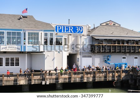 SAN FRANCISCO, USA - OCT 5, 2015: Pier 39 of San Francisco. Pier 39 is a shopping center and popular tourist attraction built on a pier in San Francisco, California