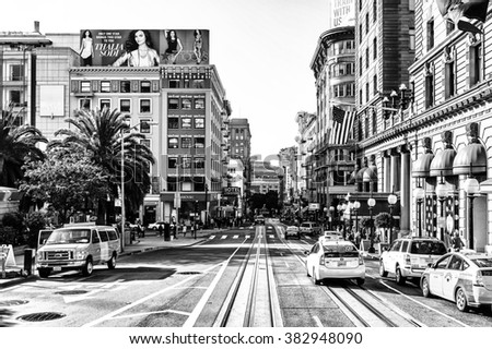 SAN FRANCISCO, USA - OCT 5, 2015: Powell street in San Francisco. San Francisco is the cultural, commercial, and financial center of Northern California - stock photo