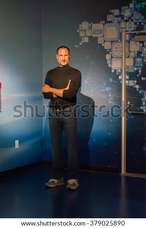 SAN FRANCISCO, USA - OCT 5, 2015: Steve Jobs at the Madame Tussauds museum in SF. It was open on June 26, 2014 - stock photo
