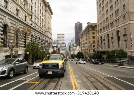 San Francisco, USA - October 1, 2015: View of a typical road of San Francisco.