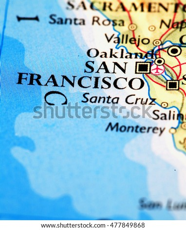 San Francisco USA, on atlas world map