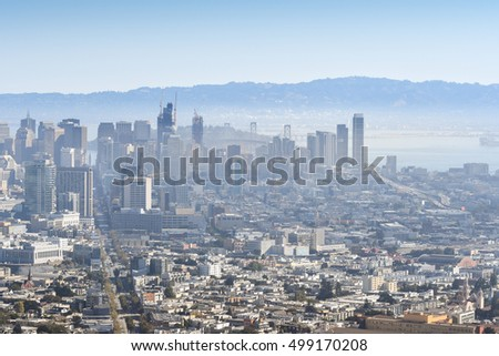 San Francisco, USA - September 18, 2016: Foggy downtown is seen from the Twin Peaks, San Francisco, USA.