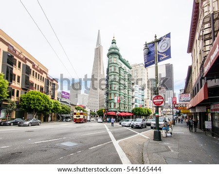 SAN FRANCISCO, USA - SEPTEMBER 15: Little Italy street on September 15, 2015 in San Francisco, California, United States. San Francisco was founded on June 29, 1776.