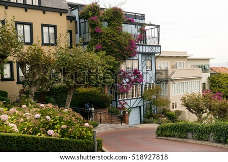 San Francisco, USA - September 30, 2015: People walk on the Lombard street on Russian hill, San Francisco.
