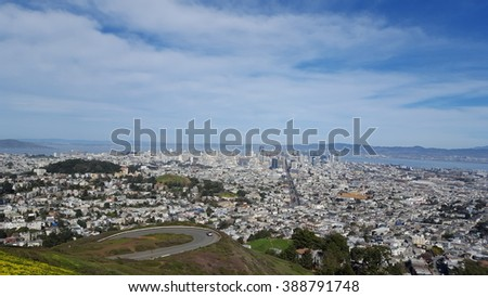 San Francisco view from Twin Peaks observation desk. California, USA