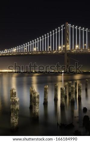 San Francsisco Bay Bridge by night - stock photo