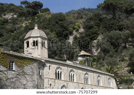 San Fruttuoso Abbey facade - Portofino Natural Park,  - Ligurian Riviera - Liguria Italy - stock photo