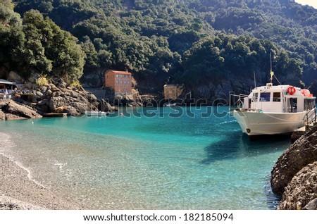 San Fruttuoso bay in Camogli, Liguria, Italy - stock photo
