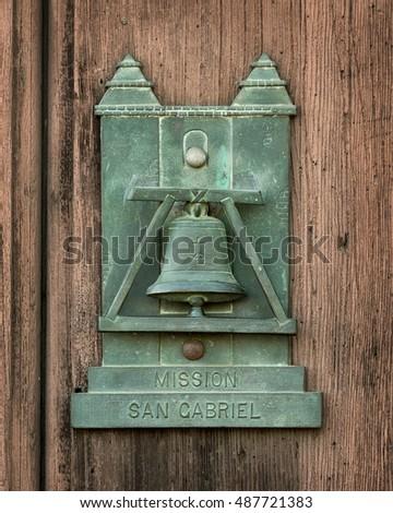 SAN GABRIEL CALIFORNIA - AUGUST 2 Door knocker at Mission San Gabriel Archangel on & mission Door