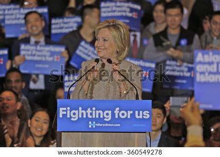 SAN GABRIEL, LA, CA - JANUARY 7, 2016, Democratic Presidential candidate Hillary Clinton speaks to Asian American and Pacific Islander (AAPI) members, including Democrat Representative Judy Chu.