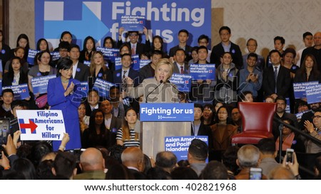 SAN GABRIEL, LA, CA - JANUARY 7, 2016, Democratic Presidential candidate Hillary Clinton speaks to Asian American and Pacific Islander (AAPI) members with Congresswoman Judy Chuat her side.