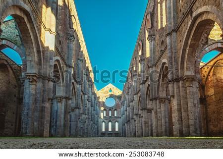 San Galgano Abbey ruins near Siena, Tuscany, Italy - stock photo