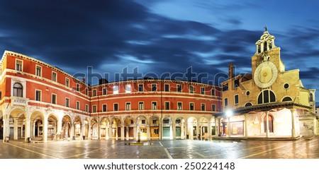 San Giacomo di Rialto - oldest church in Venice at night - stock photo