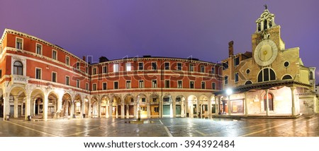 San Giacomo di Rialto - oldest church in Venice at night - stock photo