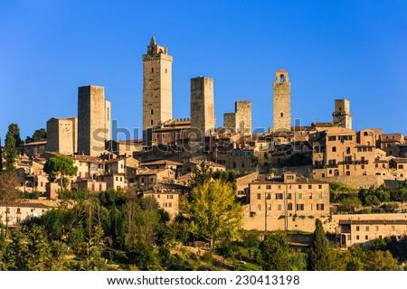 San Gimignano at sunrise, Tuscany, Italy - stock photo