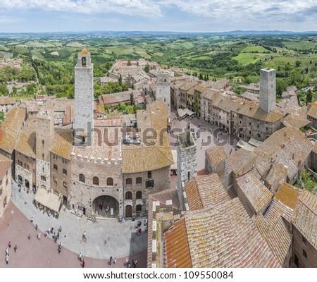 San Gimignano general city view in Tuscany, Italy - stock photo