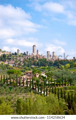 San Gimignano is a small medieval hill town in the province of Siena Italy. - stock photo