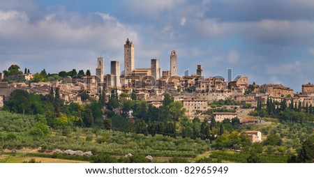 San Gimignano is a small walled medieval hill town in the province of Siena, Tuscany - stock photo