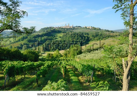 San Gimignano is known as the city of the Beautiful Towers rich in History Art and Culture surrounded by the splendid Tuscan country, - stock photo