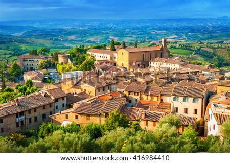 San Gimignano medieval town, Tuscany Italy. - stock photo