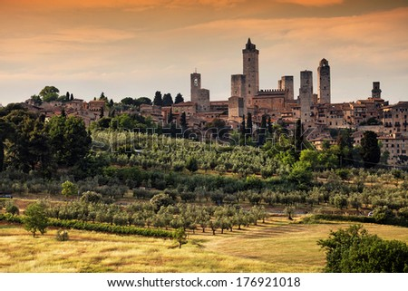 San Gimignano Medieval Village, Italy, Europe - stock photo