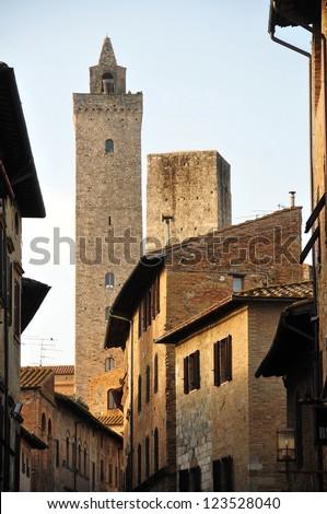 San Gimignano medieval village, Tuscany, Italy - stock photo