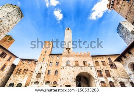 San Gimignano prom Piazza del Duomo, Tuscany, Italy - stock photo