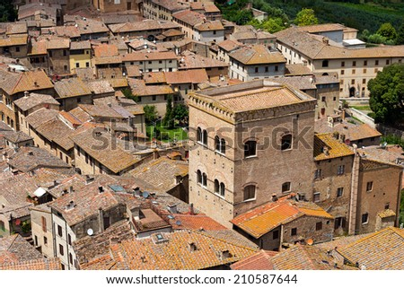 San Gimignano - Siena Tuscany Italy / Aerial view of San Gimignano, medieval town (UNESCO heritage), from the tower of the Palazzo Comunale, Siena, Tuscany, Italy - stock photo