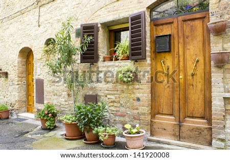 San Gimignano - small walled medieval hill town in the province of Siena, Tuscany, Italy - stock photo