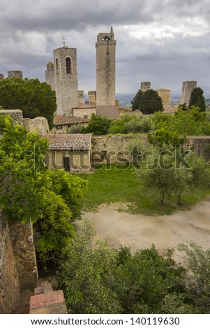 San Gimignano towers - stock photo