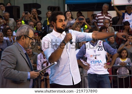 SAN GIOVANNI IN PERSICETO,BOLOGNA,ITALY-SEPTEMBER 18,2014:the nba champion and winner of the Three-Point Contest 2014 Marco Belinelli,is celebrated in his hometown in Italy from all his friends.