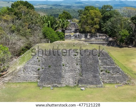 SAN IGNACIO,CAYO/BELIZE - MARCH 31, 2014: A view of Pyramid A1 and the royal residences A11 from the El Castillo pyramid in the Xunantunich Maya ruins.