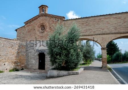 San Jacopo church and arcs panoramic at San Gimignano - Italy - stock photo