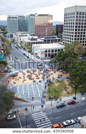 SAN JOSE, CALIFORNIA - JUNE 17, 2016: Cyclists gather for San Jose Bike Party in Plaza de Cesar Chavez Park on June 17, 2016 in San Jose, California.