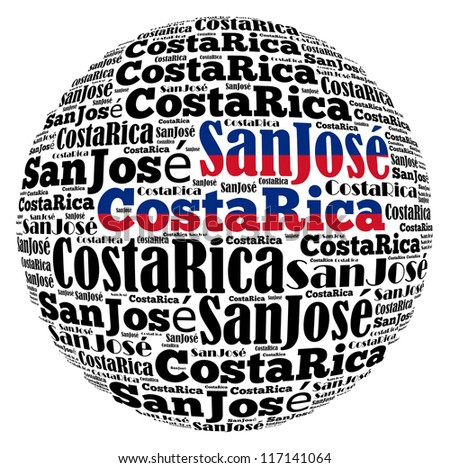San Jose capital city of Costa Rica info-text graphics and arrangement concept on white background (word cloud)