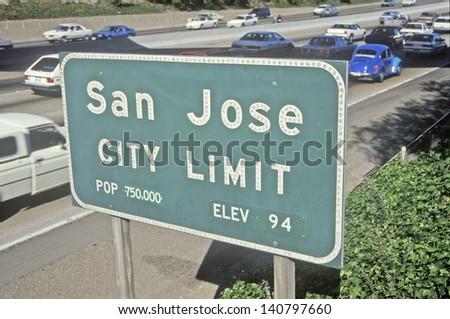 San Jose City Limit sign, San Jose, Silicon Valley, California - stock photo