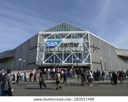 SAN JOSE - MARCH 30: Crowd of People line up to enter the SAP Center for live taping of WWE Monday Night Raw in San Jose, California on March 30, 2015. - stock photo