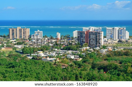 San Juan aerial view with blue sky and sea. Puerto Rico. - stock photo