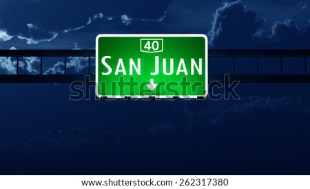 San Juan Argentina Highway Road Sign at Night - stock photo