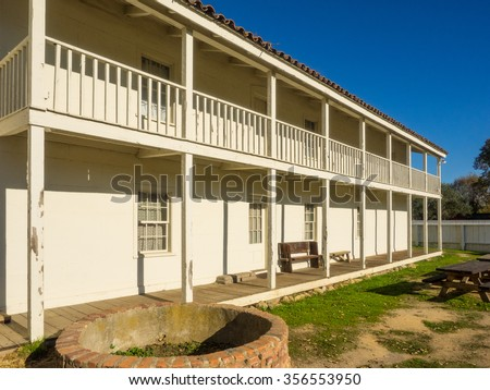 San Juan Bautista State Historic Park is a historic district in San Juan Bautista, California, United States, that is a National Historic Landmark and a California state historic park. - stock photo