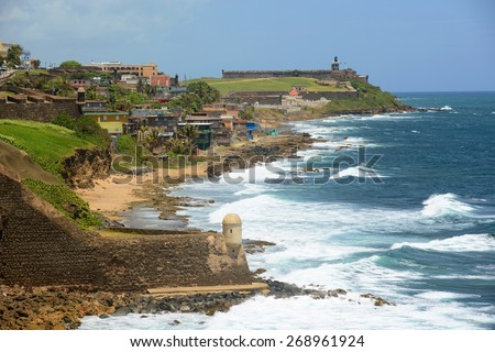 San Juan Castillo San Felipe del Morro El Morro and Old San Juan skyline by the sea. From Castillo de San Cristobal, San Juan, Puerto Rico. - stock photo