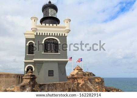 San Juan, Lighthouse at Fort San Felipe del Morro, Puerto Rico - stock photo