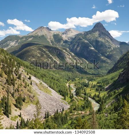 San Juan Mountains Scenery along the Animas River in Colorado, USA - stock photo